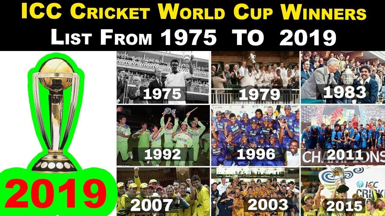Picture of a world cup winners cricket list since 1975 to 2020