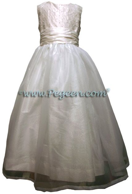 White Silk First Communion Dress With Pearls Also Available In