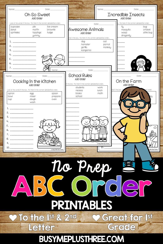 Abc Order Worksheets Alphabetical Order Pages For 1st 2nd 3rd Abc Order Abc Order Worksheet Alphabetical Order