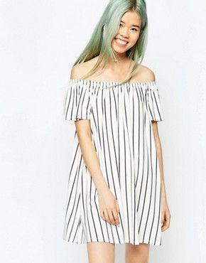 d4da1e51df0b ASOS Off Shoulder Swing Dress in Vertical Stripe
