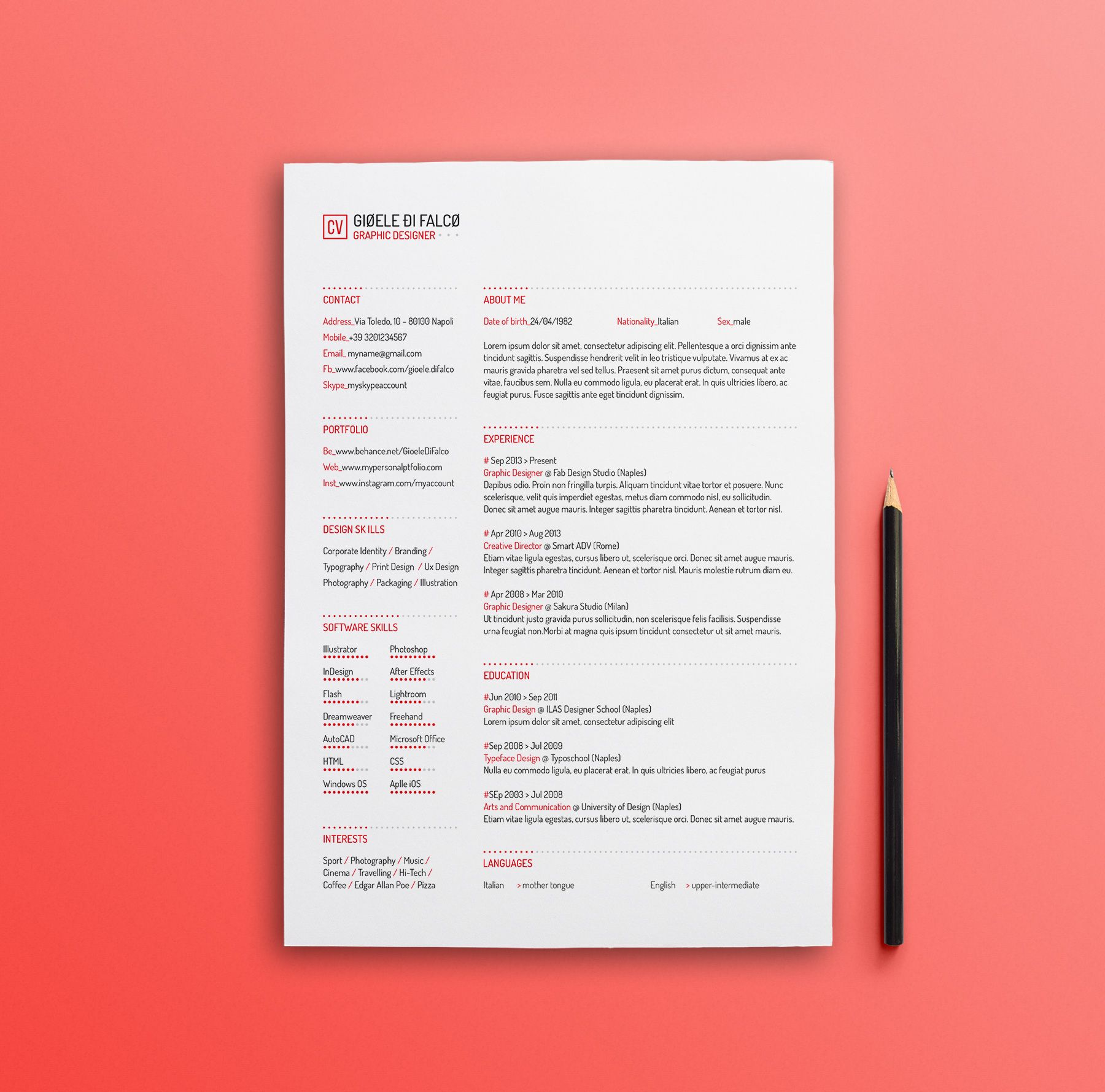 Clean and professional resume template. Free download