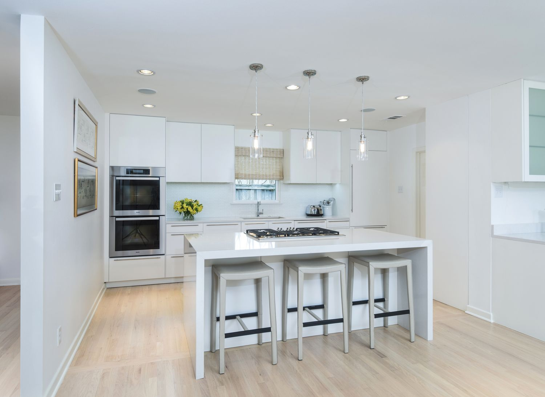 Alexis Pearl Design | Modern white kitchen, Miele, Crate & Barrel ...