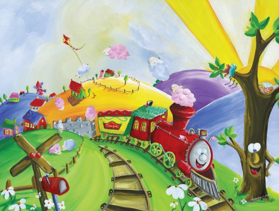 Happy Train Wall Mural For Kids RoomsKid In The Mural