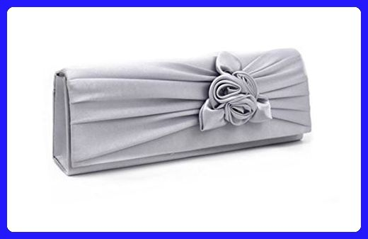 Wedding Evening Bag Nodykka Party Pleated Satin Floral Clutches Handbags Purse (Silver) - Evening bags (*Amazon Partner-Link)