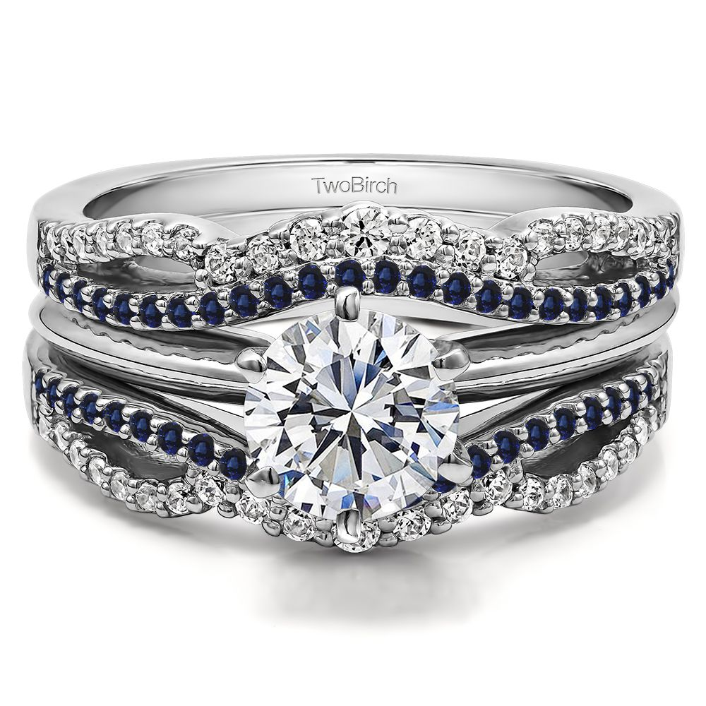 Diamond and Sapphire Double Infinity Wedding Ring Guard ...
