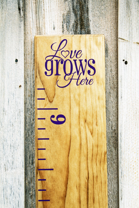 """Growth Chart Ruler AddOn""""Love Grows Here"""" Vinyl Decal"""