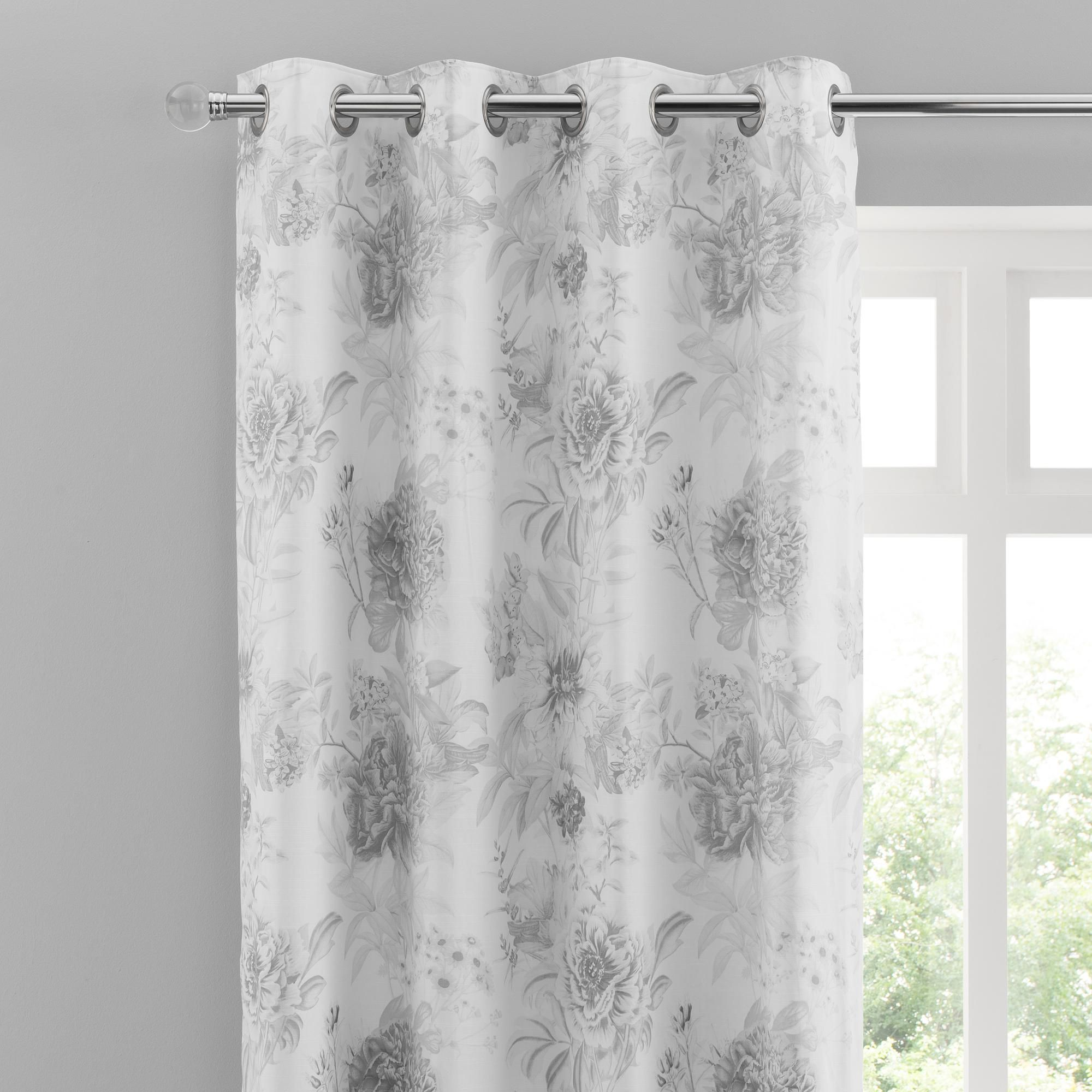 Dunelm Floral Fully Lined Cotton Grey 168x228cm Gracey Eyelet