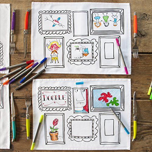 Robot Check Doodle Frame Coloring Placemats Placemats