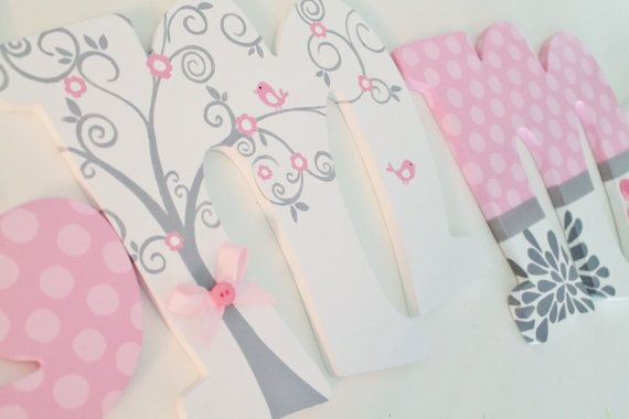 White Pink and Gray Whimsical Birds and Trees by KraftinMommy