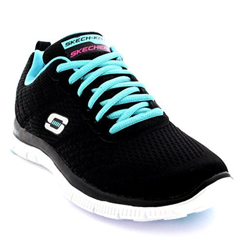 Womens Skechers Flex Appeal Obvious Choice Casual Memory Foam Trainers -  Black Light Blue - 2f56db124