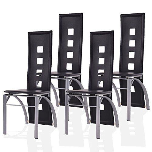 Giantex Set Of 4 Dining Chairs Pu Leather Steel Frame High Back Home Furniture Black See This Grea Black Kitchen Chairs Dining Chairs High Back Dining Chairs