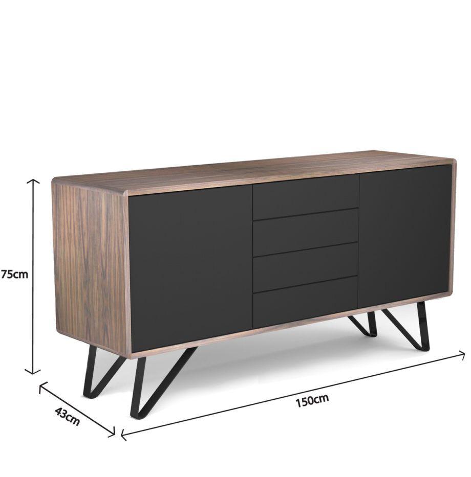 Bahut Noyer Et Noir Design Retro Victor Audrey Savelon Muebles Para Tv Muebles Rusticos Muebles