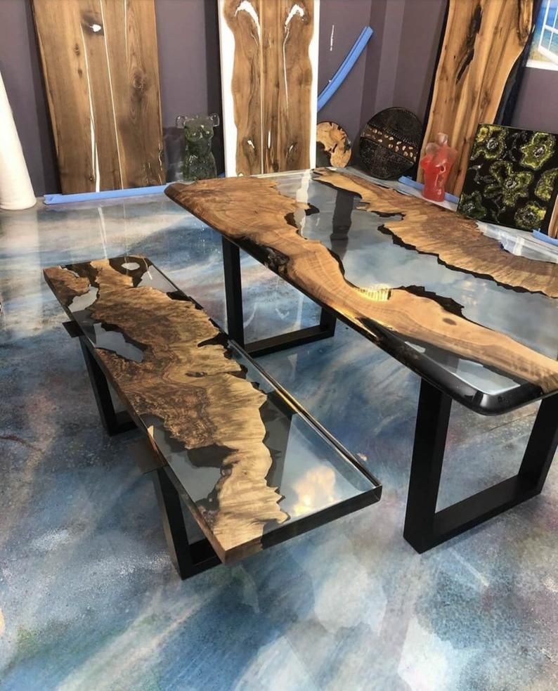Made To Order Custom Clear Epoxy Resin Table With Bench Epoxy Etsy Resin Table Epoxy Resin Table Epoxy Resin Wood