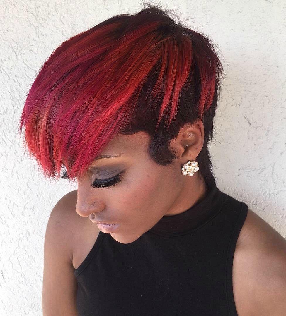 Short Half Red Half Black Hairstyle Edgy Haircuts Stylish Hair Edgy Hair
