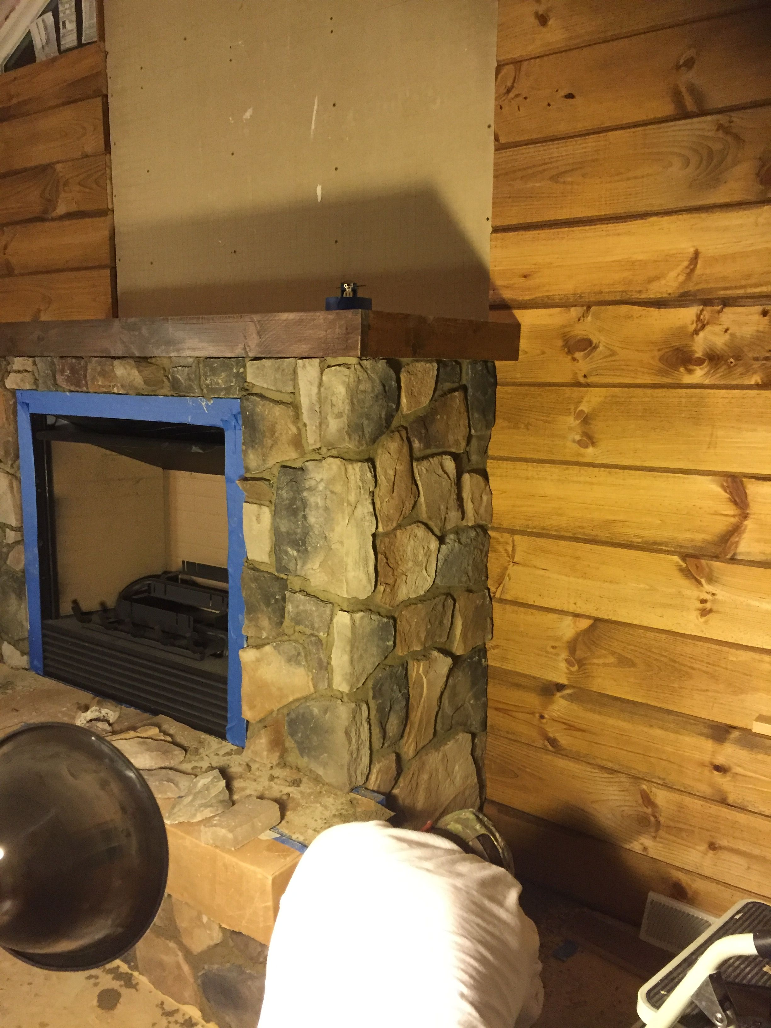 6 Stone Encased Gas Fireplace Rough Cut Knotty Pine Wall