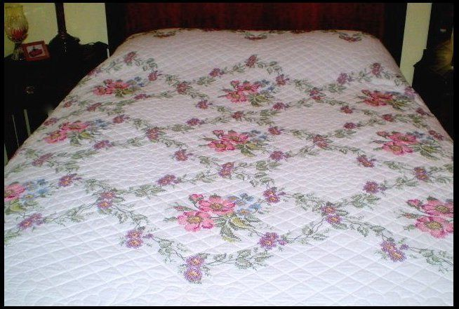 Hand Stitched Floral Bedspread Hand Quilted Bed Linens Handmade Quilted Bed Coverlet Vintage Cross Stitch Bedspread