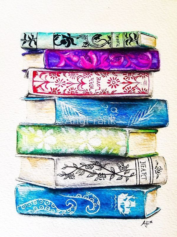 Pin By Katie On Books Watercolor Books Book Drawing Stack Of Books