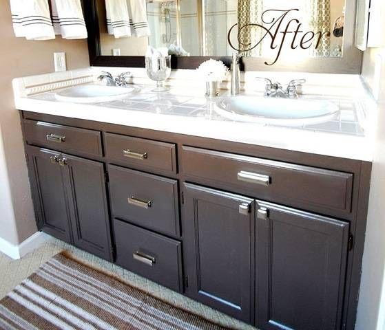 bathroom cabinet redo. Builder\u0027s Grade Bathroom Makeover With Painted Cabinets Love This Color The Paint Is Valspar\u0027s Latex \u0027Betsy Ross House Brown\u0027 In Soft Gloss Cabinet Redo 7