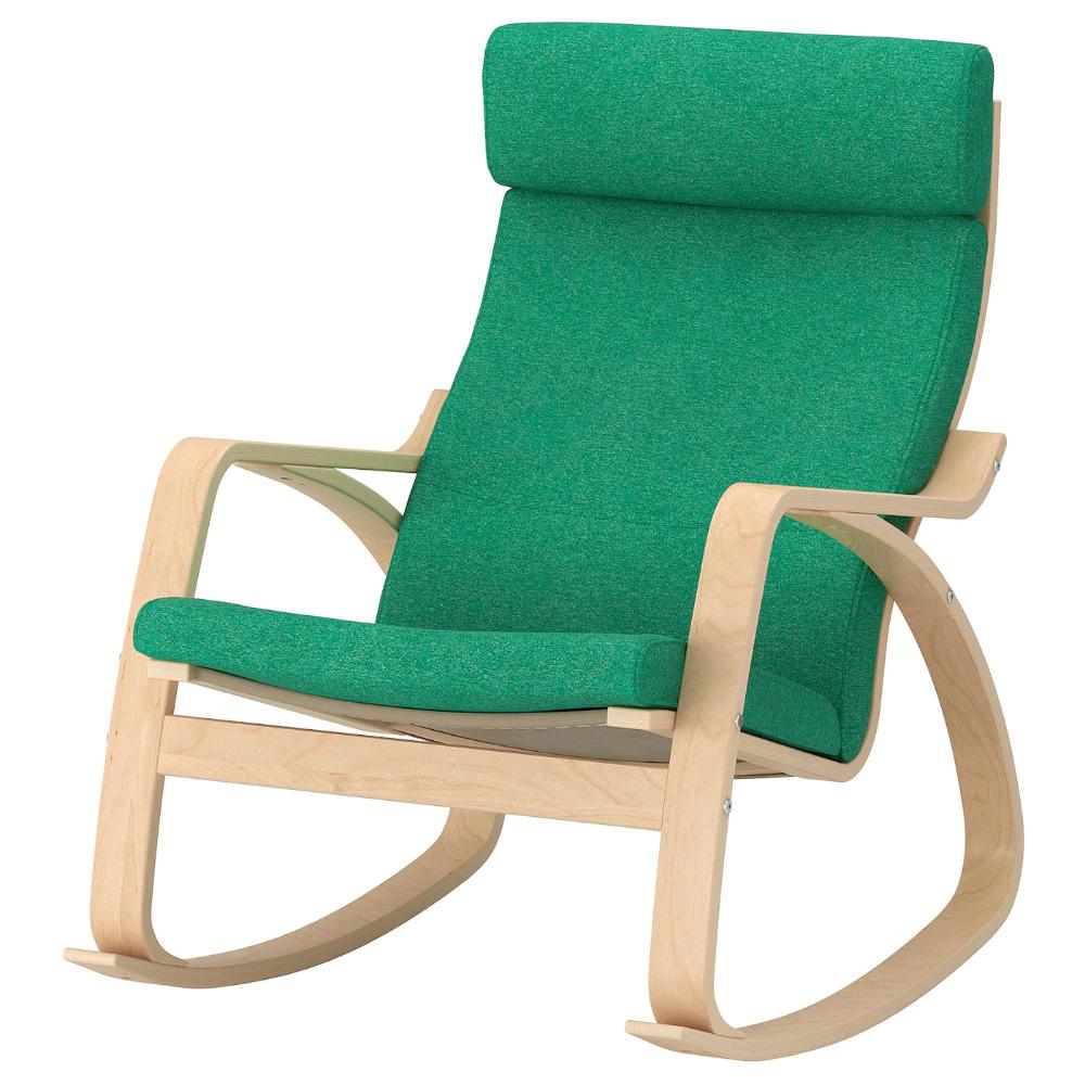 POÄNG Rocking chair, Lysed bright green, Width 26 3/4