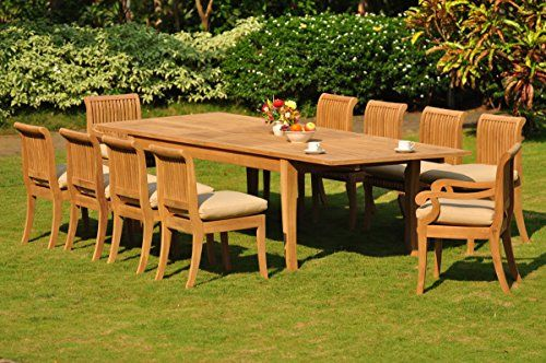 Teakstation 10 Seater 11 Pc Gradea Teak Wood Dining Set Large