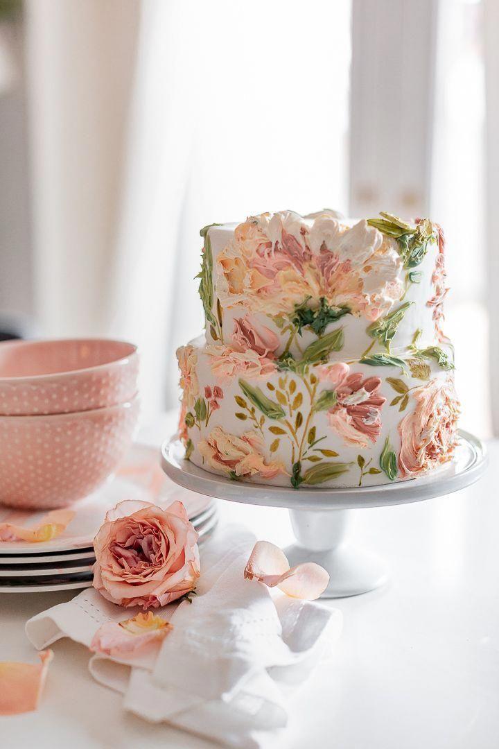 Painted Buttercream Spring Carrot Cake