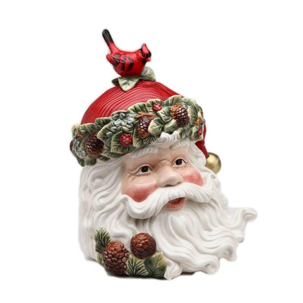 Evergreen holiday santa cookie jar cosmos traditional