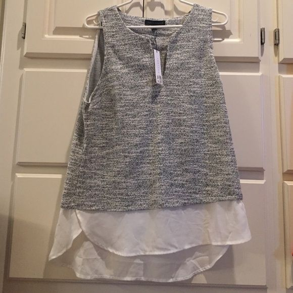 Sanctuary women's sleeveless top Sleeveless v-neck sanctuary size Large top. New! Never worn. Super soft upper top with white sheer bottom. Sanctuary Tops Tunics