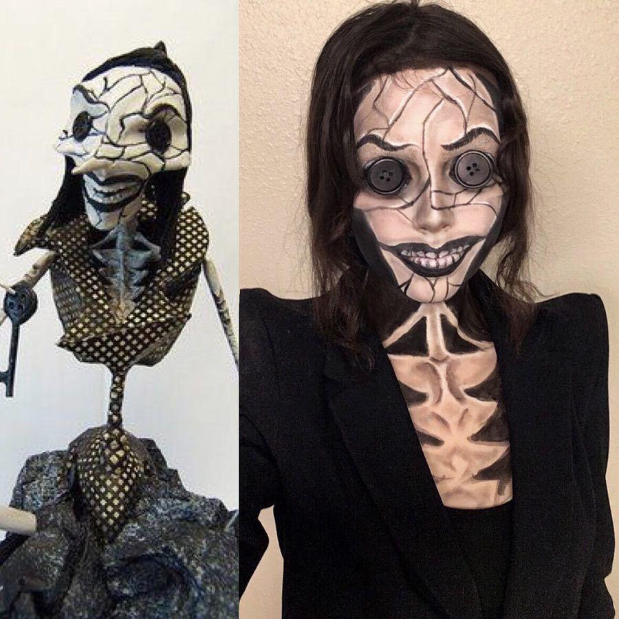 Coralines Andere Mutter Kostum Selber Machen Maskerix De Mothers Costume Coraline Costume Creepy Halloween Makeup