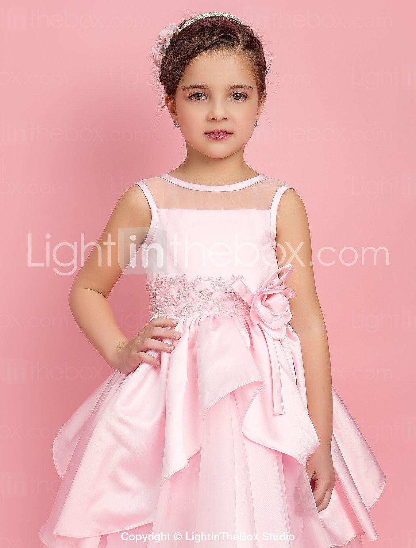 Linha A De Baile Princesa Longuette Vestido para Meninas das Flores ...