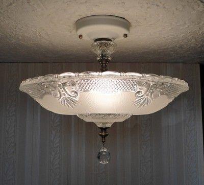 Vintage 30 S Art Deco Glass Ceiling Light Fixture Chandelier For