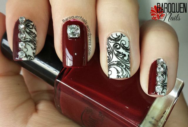 Natural Nail Art Of The Week Diamonds And Damask My Nail Designs