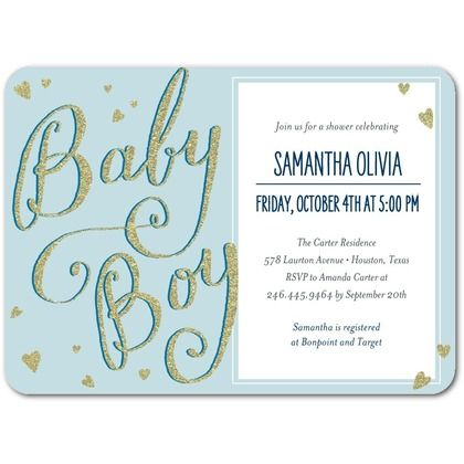 Little Shine - Baby Shower Invitations - Petite Alma - Peppermint - Blue : Front