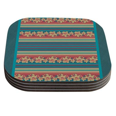 East Urban Home Mahalo Denim Stripe Floral Coaster