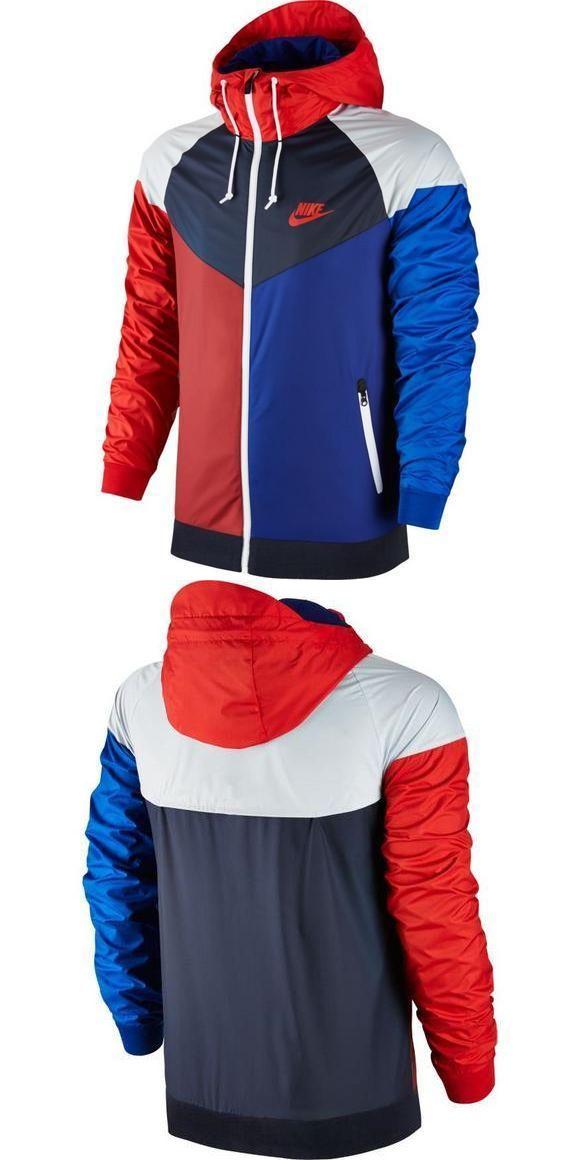 Athletic Apparel 137084: Nike Sportswear Windrunner Jacket 902353-657 White  Blue Red Windbreaker New