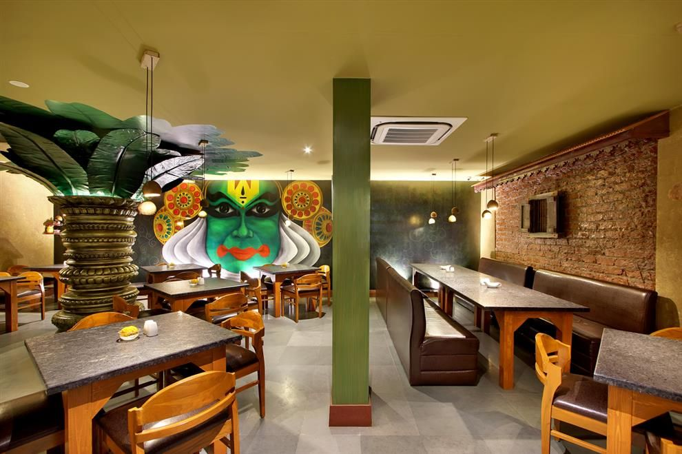 Wall Mural Is A Major Highlight In South Indian Restaurant Restaurant Interior Wall Murals Restaurant Themes