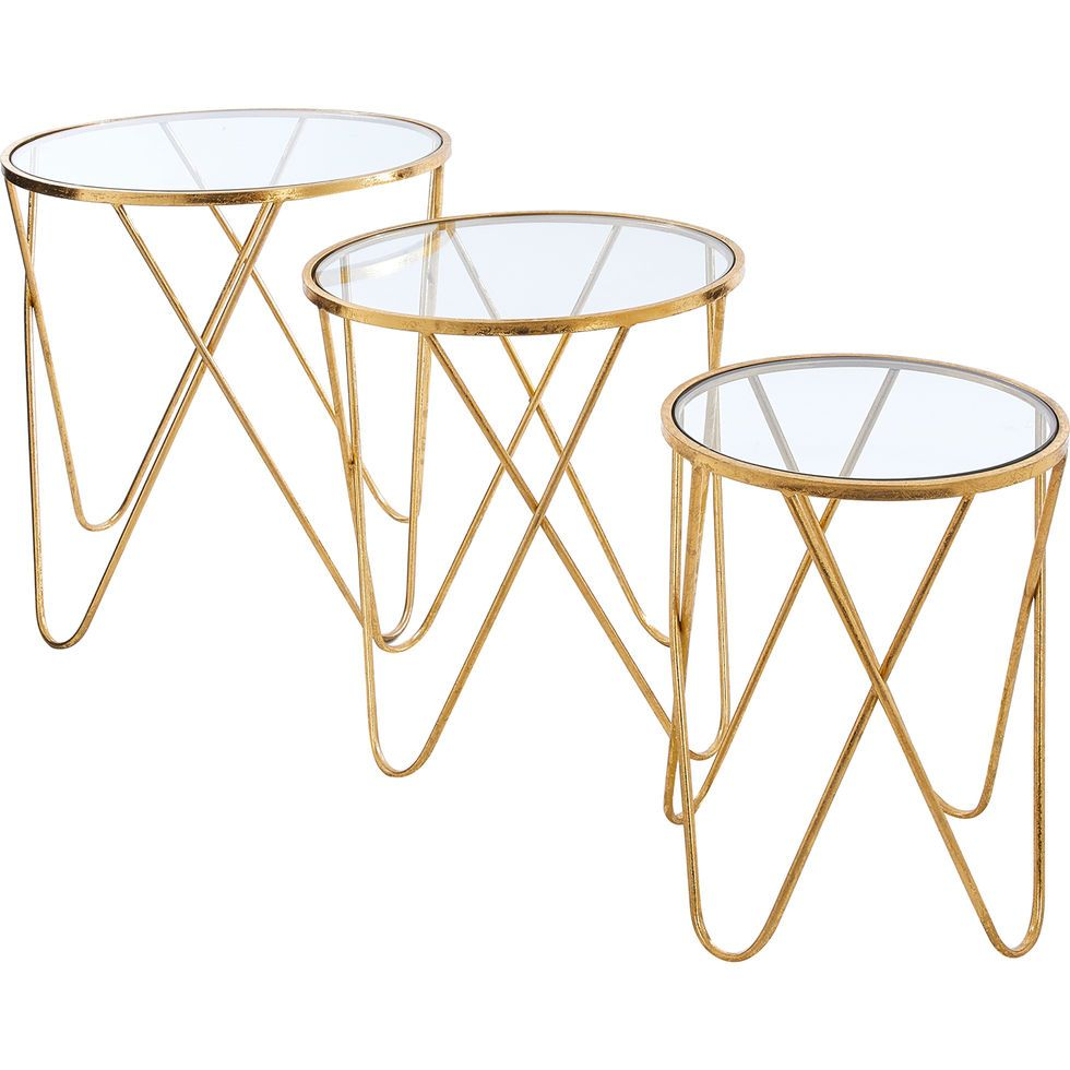 Three Pack Gold Glass Tables Side Tables Furniture Home