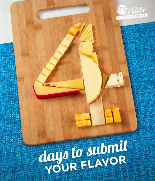 There's only 4 days left – time is running out! It doesn't matter if your chip ideas are cheesy – submit 'em by 3/30 for a chance to win $1 million! See Rules. bit.ly/DoUsAFlavor9