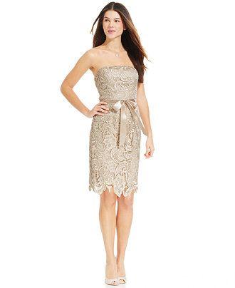 Adrianna Papell Strapless Lace Sheath - Women - Macy's