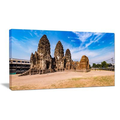"""DesignArt Ancient Temple in Thailand Panorama Photographic Print on Wrapped Canvas Size: 16"""" H x 32"""" W x 1"""" D"""