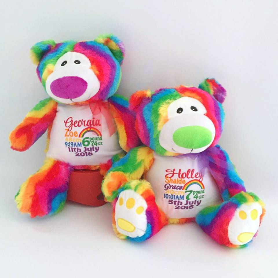 Personalised baby gift rainbow bears embroidered teddy bear personalised baby gift rainbow bears embroidered teddy bear personalised teddy bear bridal negle Image collections