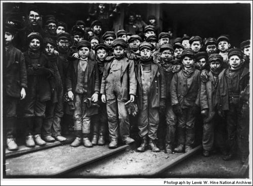"""1908- National Child Labor Committee was already campaigning to put the nation's two million young workers back in school when the group hired Hine. The Wisconsin native traveled to half the states, capturing images of children working in mines, mills and on the streets. Here he has photographed """"Breaker Boys"""" whose job was to separate coal from slate, in South Pittston, Pa. Once again, pictures swayed the public in a way cold statistics had not, and the country enacted laws banning child…"""