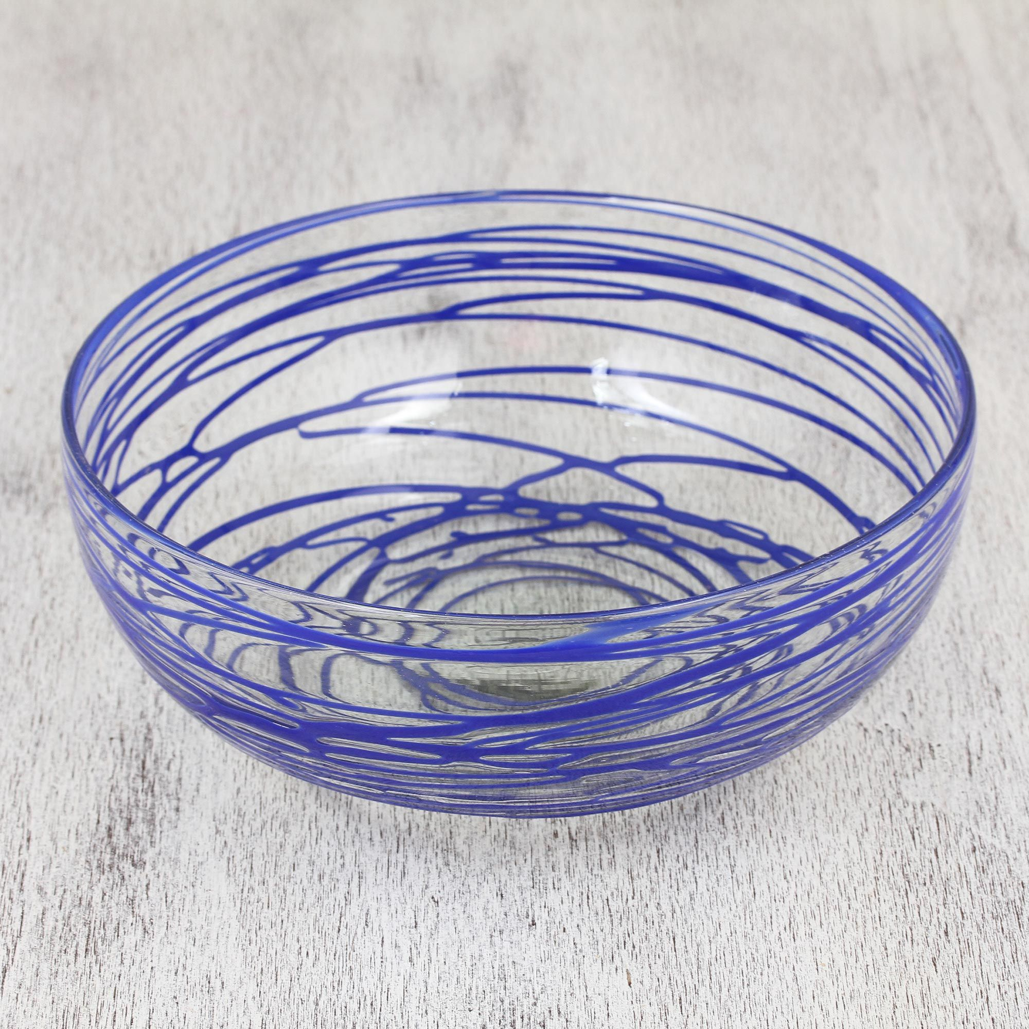 Clear 10 Inch Blown Glass Salad Bowl With Blue Swirls Glass Blowing Bowl Online Gifts