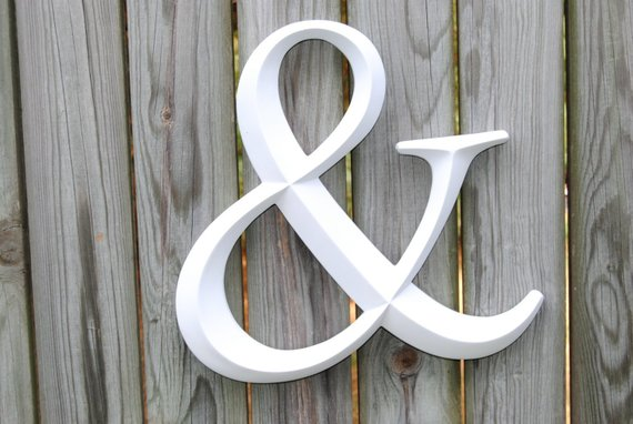 White Ampersand Sign Large Wall Ampersand Wedding Decor