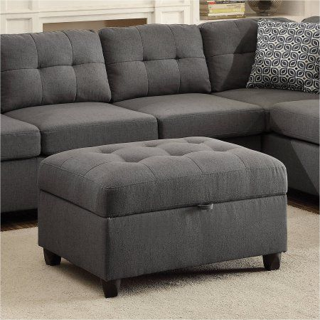 Coaster Stonenesse Storage Ottoman, Cross Hatch Steel Grey fabric ...