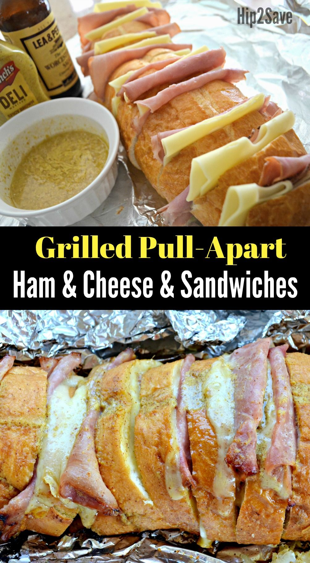 Grilled Ham & Cheese Pull-Apart Sandwiches #campingideas
