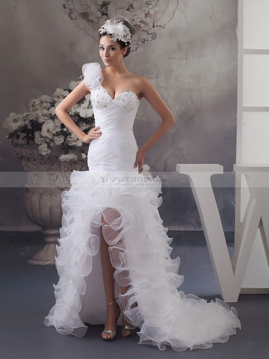Mermaid ruffle wedding dress  Margerey  One Shoulder Mermaid Wedding Gown with Beading and