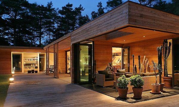 casa de madera moderna Casa Pinterest Casa de madera moderna - fachada madera