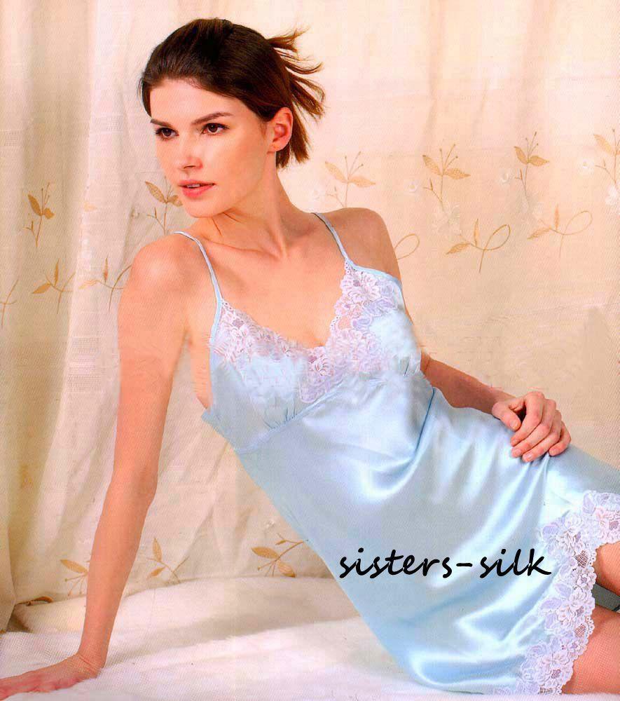 Womens 100% Pure Silk Full Slips Chemise Babydoll Nighties Sleepwear ...
