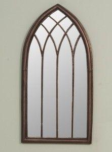 Arch iron metal gothic style church window mirror for Church style mirrors