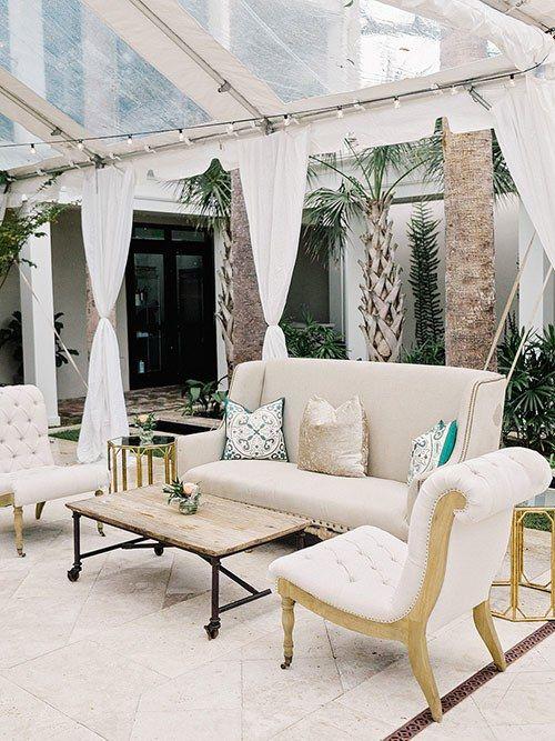 Charming Black Tie Charleston SC Wedding, Cocktail Hour Lounge Furniture